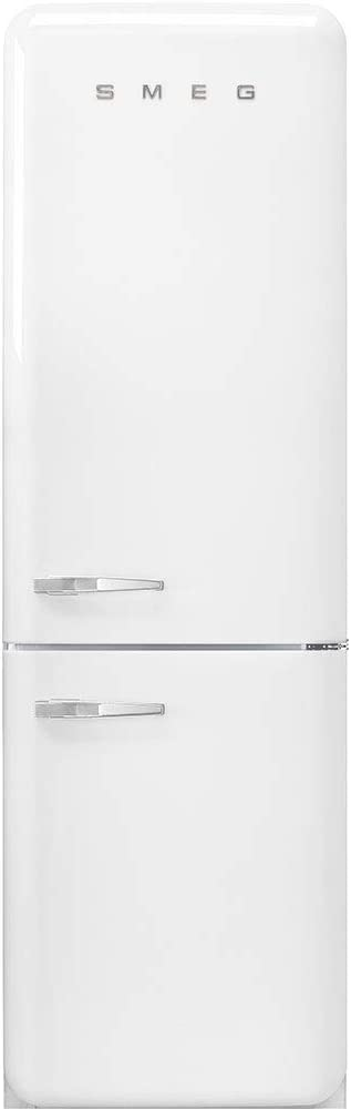 "Smeg FAB32URWH3 50's Retro Style Aesthetic 24"" 50'S Style Refrigerator With Automatic Freezer, White, Right Hand Hinge"