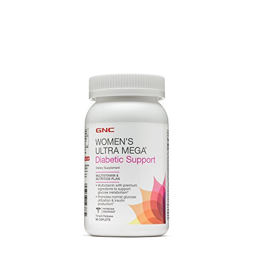 Diabetic Multivitamin - GNC Womens Ultra Mega Diabetic Support - 90 Caplets
