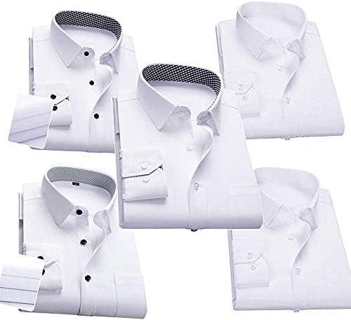 ワイシャツ メンズ 長袖 ボタンダウン 細身 ビジネス シャツ カジュアルシャツ 形態安定 抗菌防臭加工 5枚セット 多色選択