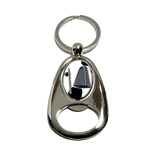 More Cowbell - Musical Instrument Music Funny Parody Joke Marching Band Cow Print - Chrome Plated Metal Spinning Oval Design Bottle Opener Keychain Key Ring]()