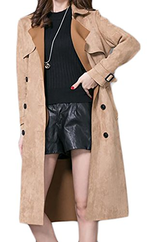 lim Suede Fleece Lined Double Breasted Parka Trench Coats Camel US 4XL ()