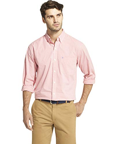 IZOD Men's Button Down Long Sleeve Stretch Performance Gingham Shirt, Rapture Rose, Small ()