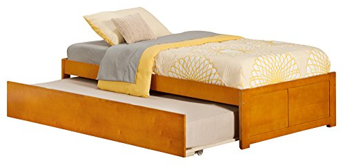 Urban Flat (Atlantic Furniture Concord Flat Panel Foot Board with Urban Trundle Bed, Twin, Caramel Latte)