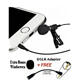 Lavalier Lapel Microphone Clip-on Omni Condenser mic for Smartphones, Apple Iphone, Ipad, Ipod Touch, Samsung - BONUS DSLR Cable Adapter for video Cameras,Computers Windows and Audio Recorders