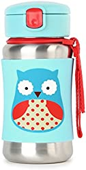 Skip Hop Kids Water Bottle With Straw, Stainless Steel Sippy Cup, Owl