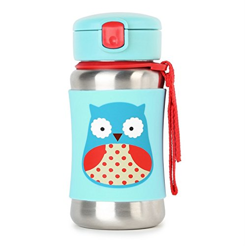 Skip Hop Baby Zoo Little Kid and Toddler Feeding Travel-To-Go Insulated Stainless Steel Straw Bottle, 12 oz, Multi Otis Owl