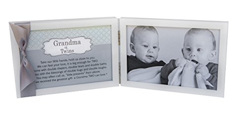 Grandma of Twins Poem White Double Hinged 4 x 6 Photo Frame with Ribbon
