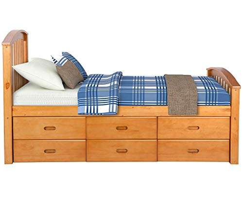 Captain Bed Box - Merax Twin Size Platform Storage Bed Solid Wood Bed with 6 Drawers (Natural)