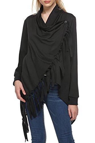 Etuoji Women's Folded Collar Long Sleeve Tassels Irregular Tops Cardigan (Folded Collar Long Sleeve)
