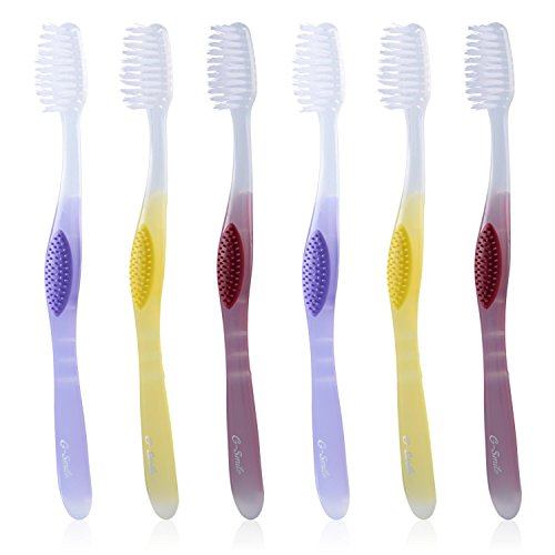 G-Smile Adult Advanced ToothBrush, Pointed(Tapered)Bristles, Compact Head & Comfort Grip Handle, Soft Bristles, Deep Cleaning and Whitening, Colors Vary, Value Pack Toothbrushes (6 (Compact Soft Grip)