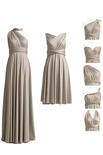 (72STYLES Infinity Dress with Bandeau, Convertible Dress, Bridesmaid Dress, Long,Short, Plus Size, Multi-Way Dress, Twist Wrap Dress (Short Regular Size, Taupe) )