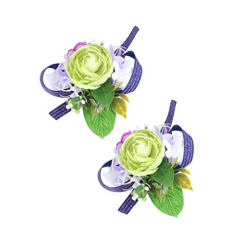 Febou Wrist Corsage Pack of 2 Wedding Bridal Wrist Flower Wristband Hand Flower for Bride Bridesmaid Perfect for Wedding, Prom, Party (Wrist Flower, A-Green)