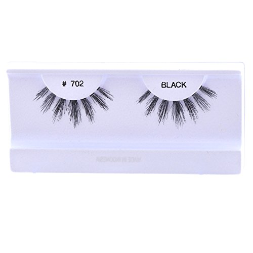 (10 Pairs 100% Human Hair False Eyelashes Natural Black #702)