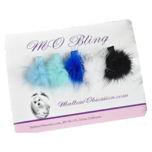 "Mink Pom Pom Hair Clip - Cosettes Blues Maltese Mink Obsession 1.5"" Hair Barette Faux Rabbit Fur Pom Pom Hair Accessory for Dog, Maltese, Yorshire, Puppy MINK BALL Alligator HAIR CLIP"
