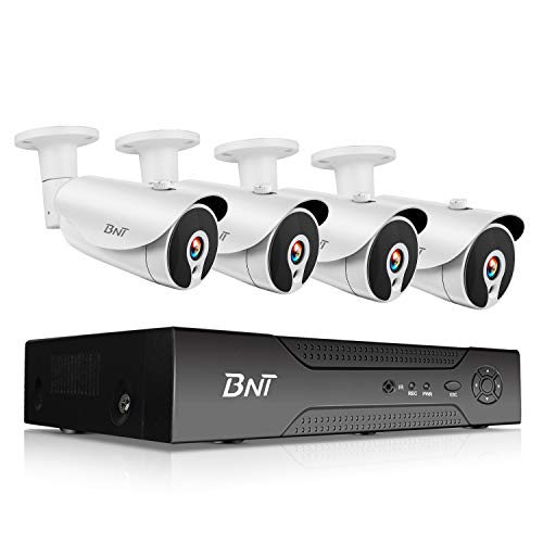 BNT 1080P 8CH PoE Security Camera System, 4 Bullet Camera, 7 24 Video Recording Onvif, Free APP Remote Monitor, Motion Detect IP67 Waterproof Indoor Outdoor, Support Max.8TB Hard Drive-Not Contained