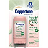 Coppertone Pure Simple Baby SPF 50 Sunscreen Stick, Water Resistant, Pediatrician Recommended, Zinc Oxide Mineral Sunscreen, Enriched with Cocoa Butter, Broad Spectrum UVA/UVB Protection, 0.49 Oz