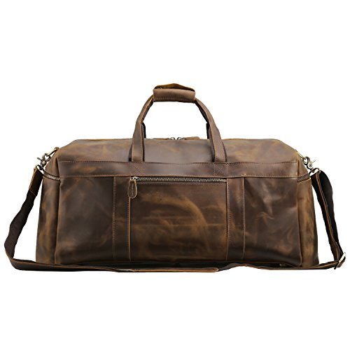 Texbo Men's Thick Cowhide Leather Vintage Big Travel Duffle Luggage Bag (Brown X Large 25'') by Texbo (Image #2)