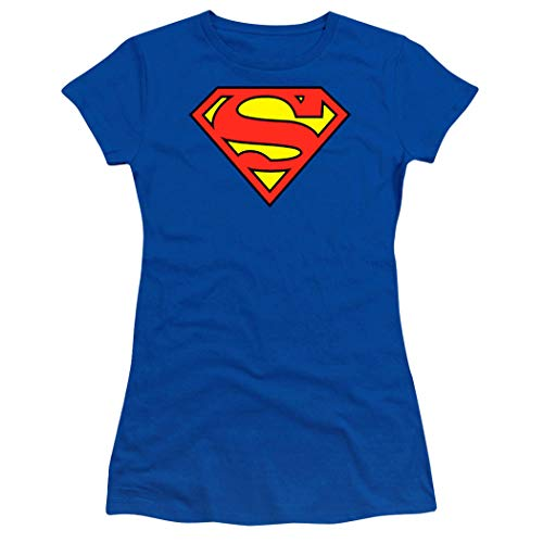 Popfunk Superman Logo S Shield Juniors Teen Girls T Shirt & Stickers (Large) Royal Blue