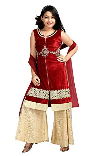 Aarika Girl's Self Design Ethnic Kurti and Palazzo Set (N-135-MAROON_24_5-6 Years) by Aarika