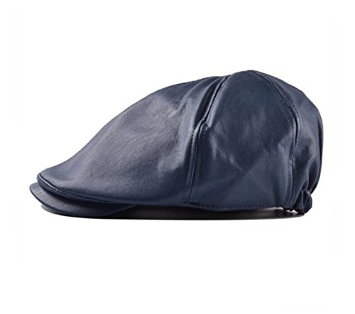 HYIRI Mens Women Vintage Leather Beret Cap Peaked Hat Newsboy Sunscreen