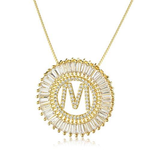 COTTVOTT A-Z Alphabet Pendant Necklaces Charms Women Initial Letter Chain Necklace 4 - Set Link Round Necklace