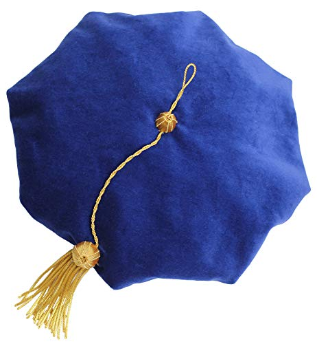 (GraduationMall Graduation Doctoral Tam Velvet with Gold Bullion Tassel (Blue 8 Sides))