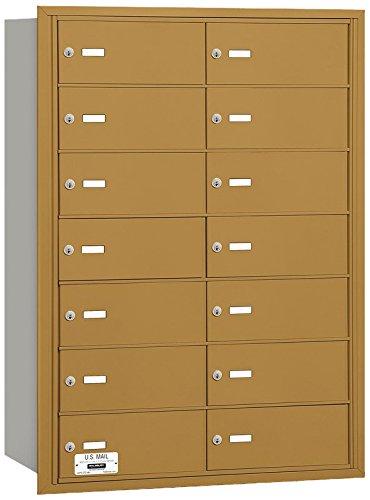 Salsbury Industries 3614GRU 4B Plus Horizontal Mailbox, 14 B Doors, Rear Loading, USPS Access, Gold