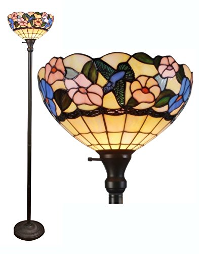 (Amora Lighting Tiffany-style AM023FL14 Hummingbirds Floral Torchiere Floor Lamp 70 Inches Tall)
