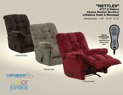 Catnapper Nettles Chaise Rocker Recliner w/ Heat & Massage - Umber (Catnapper Recliner Rocker)