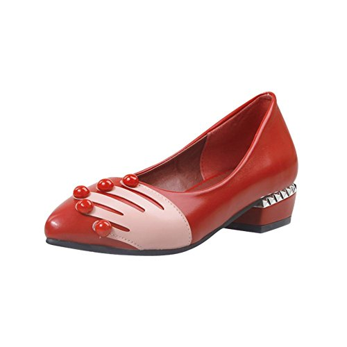 Carolbar Loafers Red Hand Heel Colors Print Womens Toe Pointed Shoes Assorted Low rx5zrwUP