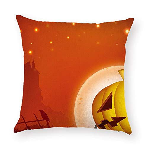 SPXUBZ Halloween Night Silhouette Moon Castle Crow Pumpkin Flax Throw Pillow Cover Home Decor Nice Gift Square Indoor Linen Pillowcase Standar Size:22x22 in (Two Sides) -