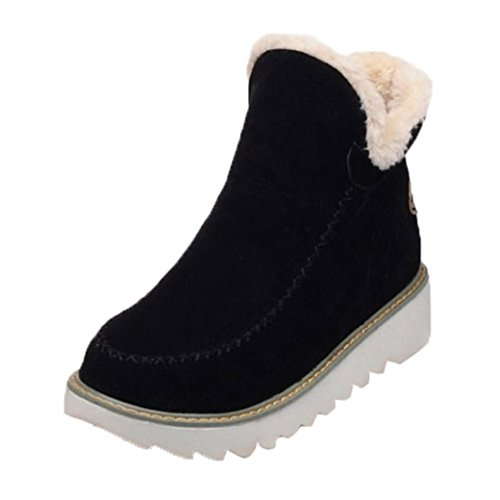 … Invierno Planos Nieve Botines Toamen CáLida De Forro De De Negro Zapatos Mujer Piel con xOwqB5ITB
