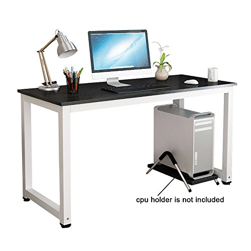 gootrades Home Office Computer Table, 47'' Sturdy Office Desk Study Writing Desk, Modern Simple Style PC Workstation Table for living Room,Black + White Leg by gootrades
