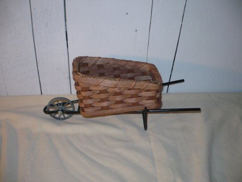 Amish Wheelbarrow - Hand Woven Wheelbarrow Basket. This Unique Basket Would Be a Great Accent Piece to Your Home Decor. The Basket Measures 7
