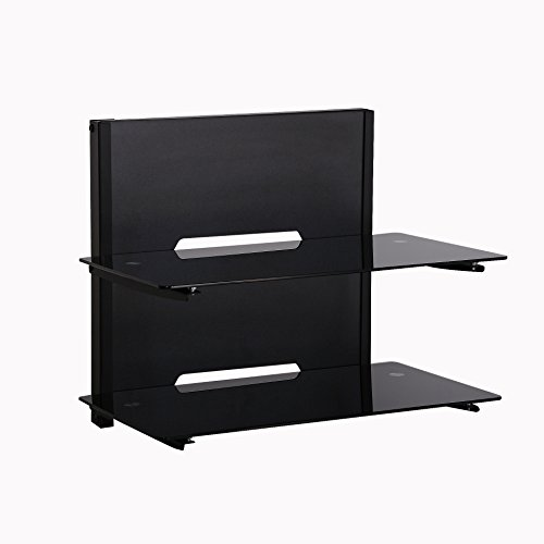 fitueyes 2 tier wood av shelf component wall mount with. Black Bedroom Furniture Sets. Home Design Ideas