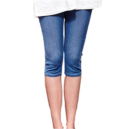 (GIFTPOCKET Women's Low Rise Maternity Stretch Pencil Cropped Jeans Capri Pant, Light Blue, (US) M-(CN))