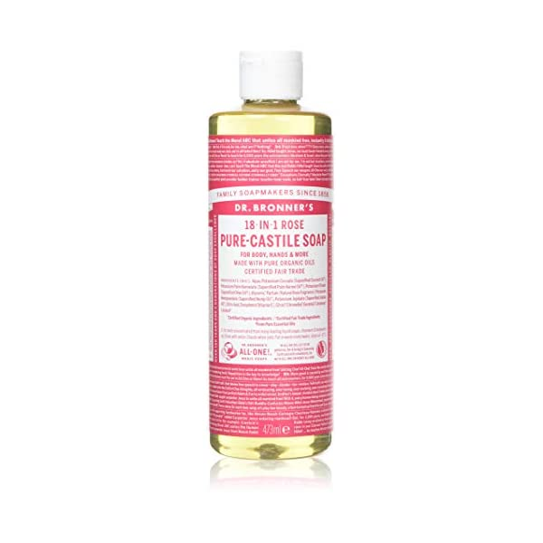 Dr. Bronner's Organic Rose Pure-Castile Liquid Soap, 473 ml
