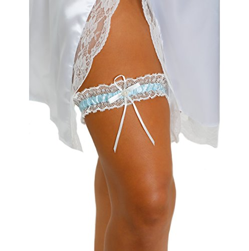 LR Bridal Blue Lace Bridal Garter with Rhinestone Satin Bow (Something Blue Garter Set)