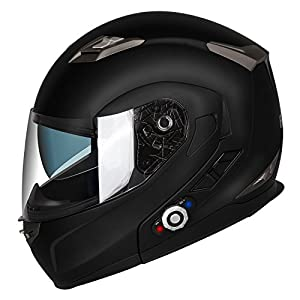 Motorcycle Bluetooth Helmets,FreedConn Flip up Dual Visors Full Face Helmet,Built-in Integrated Intercom Communication System(Range 500M,2-3Riders Pairing,FM radio,Waterproof,L,Matte Black)