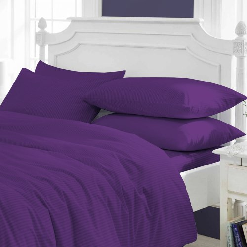 AMERICA EMPORIUM SPA LIKE FEEL GOTS VERIFIED 100% ORGANIC Cotton Italian Finish MADE IN USA Sheet Set 800TC Fits Upto 19 Inches Deep Pocket Stripe (Full, Purple) by AMERICA EMPORIUM