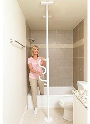 Stander Security Pole & Curve Grab Bar - Elderly Tension Mounted Transfer Pole + Bathroom Assist Grab Bar