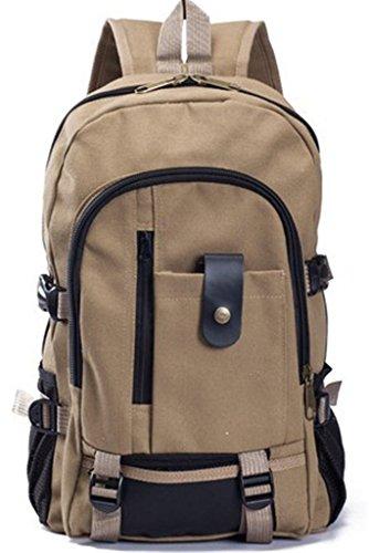 Fortunings JDS® Hot Style Leinwand Rucksack Laptoptasche Buchtasche für Männer und Jungen dark khaki