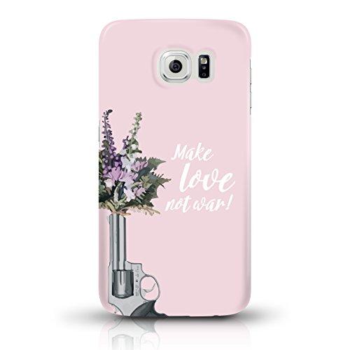 """JUNIWORDS Handyhüllen Slim Case für Samsung Galaxy S6 - Motiv """"make love not war rosa 2"""" Schutzhülle für Ihr Smartphone"""