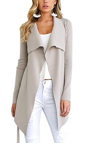 ECOWISH Womens Winter Lapel Irregular Long Sleeves Jacket Open Front Cardigans Trench Coat 949 Beige ()