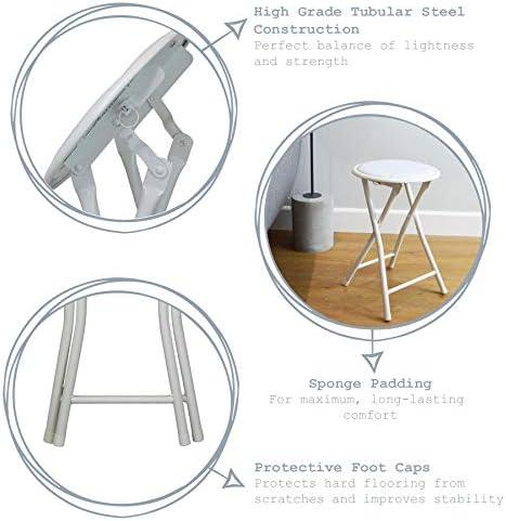Harbour Housewares Tabouret Pliant Rond et Compact - Blanc x 8