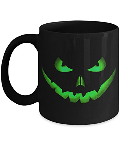Halloween Coffee Mug   Scary Green Pumpkin Jack O Lantern Face   Funny Novelty Gift Idea For Women Men Black 11oz Ceramic -