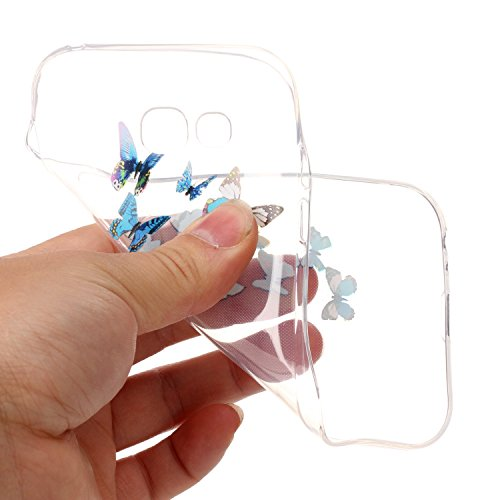 CaseHome Samsung Galaxy A5 2017/A520F gel de Silicona TPU Funda (Con Gratis Lápiz táctil) Guay ModaVistosoPatrónDiseñoCristalClaro Ultra FinoTransparenteEncaja PerfectoFlexibleSuaveCauchoPa Azul Mariposa