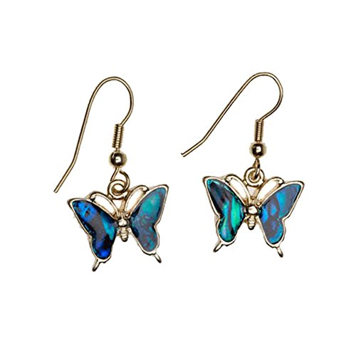 Liavy's Butterfly Fashionable Earrings - Fish Hook - Blue Paua Shell - Unique Gift and - Paua Shell Butterfly