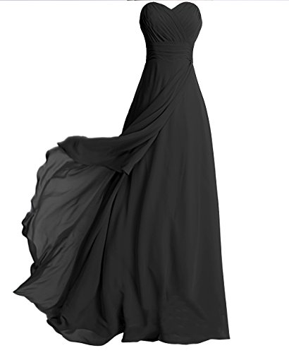 FAIRY COUPLE Strapless Bridesmaid Evening Dress D0072 (US10, (Black Strapless Prom Dress)