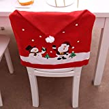 LOHOME Santa Claus Cap Chair Cover Set of 4 PCS Snowman Red Hat Chair Back Covers Non Woven Chair Back Cover Sets Christmas Dinner Decorations (4 pcs)